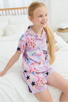 Cotton Jersey Button Through Short Pyjamas (2-16yrs)