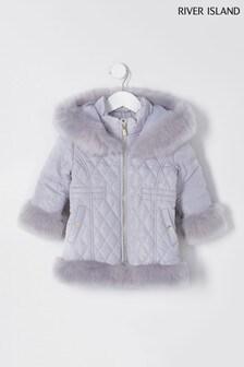 River Island Grey  Light Quilted Fur Hem Padded Jacket