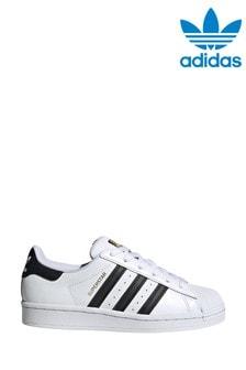 Белые кроссовки с черной отделкой adidas Originals Superstar (для подростков)