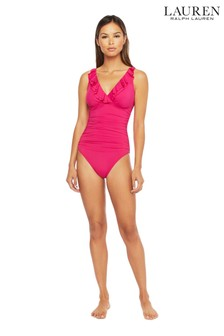 Lauren Ralph Lauren® Beach Club Solids鋼圈皺摺修身剪裁泳裝