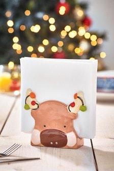 Santa & Friends Ceramic Napkin Holder
