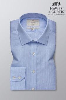 Camisa azul a rayas con puños sencillos y corte ajustado de Hawes & Curtis