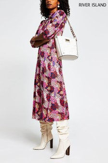 River Island Pink Bright Animal Tie Neck Midi Dress