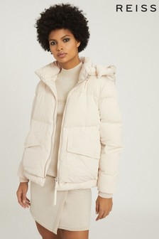 Reiss Paige Gesteppte Winterjacke mit abnehmbarer Kapuze, Creme