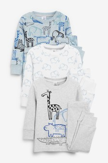 3 Pack Animal Print Snuggle Pyjamas (9mths-8yrs)
