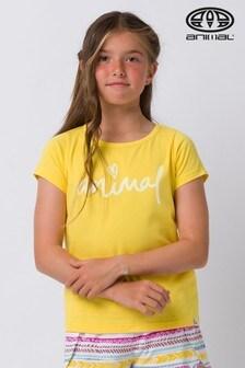 Animal T-Shirt mit Script-Grafik, Gelb