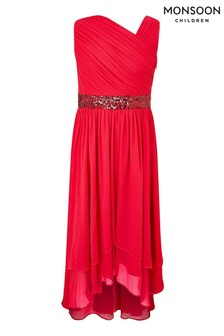 Monsoon Red Abigail One Shoulder Prom Dress