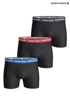 Bjorn Borg Black Sammy Contrast Solid Shorts Three Pack