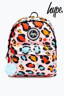 Hype. Pink Star Multicolour Leopard Print Backpack