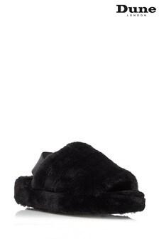 Черные пушистые тапочки с ремешком через пятку Dune London Wynnie