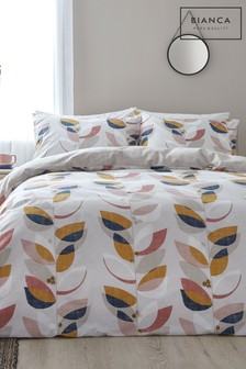 Bianca Layered Leaf Egyptian Cotton Duvet Cover and Pillowcase Set