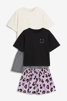 מארז 2 פיג'מות כולל מכנסיים קצרים ארוגים עם הדפס חייתי וחולצות ג'רזי (גילאי 3 עד 16)