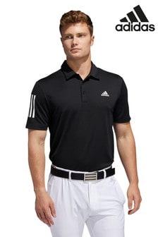 adidas Golf Poloshirt mit 3 Streifen, Schwarz
