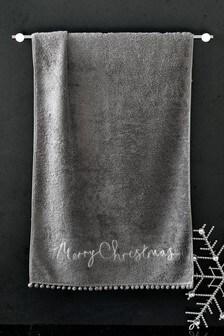 Merry Christmas Pom Pom Hand Towel