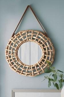 Wandspiegel mit gewebter Einfassung