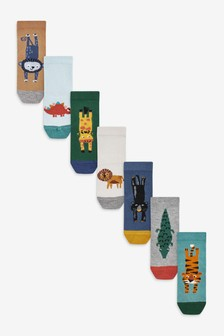 7 Pack Bamboo Rich Animal Socks (Younger)