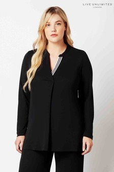 Live Unlimited Black French Crepe Blouse With Grosgrain Insert