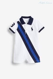 Белый комбинезон с полосками и логотипом Ralph Lauren