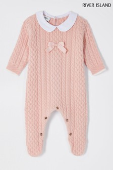 River Island Light Pink Bow Collar Cable Bodysuit