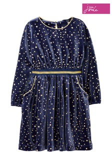 Joules Blue Twirl Velvet Party Dress