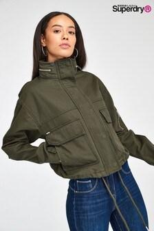 Superdry Khaki Cropped Utility Jacket