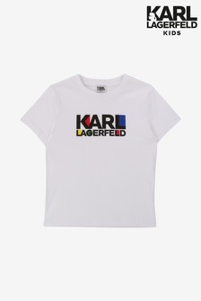 Karl Lagerfeld Kids White Text T-Shirt