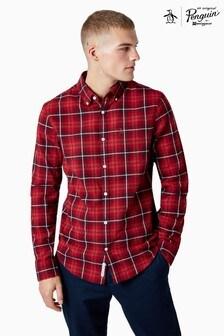 Chemise Original Penguin® rouge à carreaux écossais manches longues