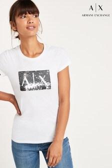 חולצת טי עם לוגו פייטים של Armani Exchange
