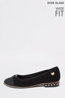River Island Black Black 9743 Toe Cap Ballerina Wide Fit Shoes