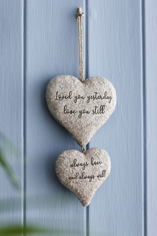 Stone Effect Love Heart Hanging Decoration