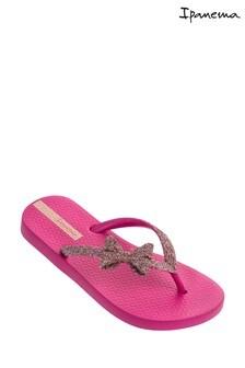 Ipanema Pink Glitter Bow Flip Flops
