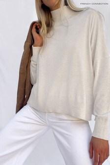 סוודר שלFrench Connection דגם Klarise בצבע שמנת עם צווארון גבוה