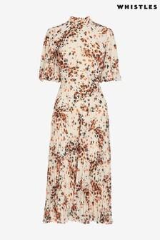 Whistles Cream Mottled Animal Pleated Dress