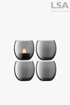 Set of 4 LSA International Zinc Tea Lights