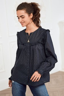 Frill Yoke Button Through Top