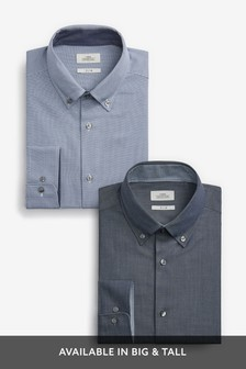 Slim Fit Plain And Check Shirts Two Pack