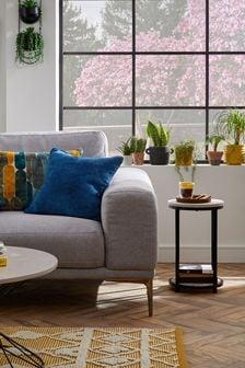 Kleines, quadratisches Kissen aus weichem Samt, Marineblau