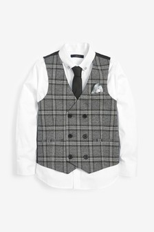 Check Double Breasted Waistcoat, Shirt and Tie Set (12mths-16yrs)
