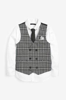 Súprava vesty s dvojradovým zapínaním, košele a kravaty (12 mes. – 16 rok.)