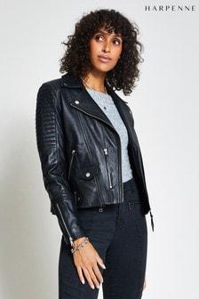Harpenne Black Leather Biker Jacket