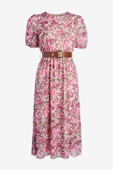 فستان مطبوع بحزام