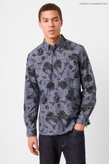 French Connection Blue Printed Workwear Chambray Shirt