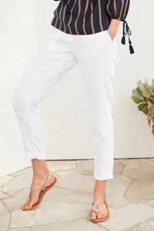 Зауженные брюки из 100% льна