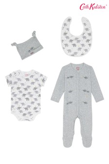 Cath Kidston® Blue Small Elephants Sleepsuit Four Pack Baby Starter Set