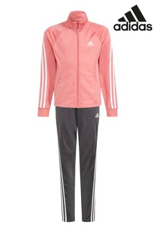 adidas Pink Polyester 3 Stripe Tracksuit