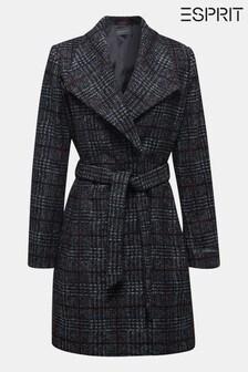 Esprit Grey Woven Wool Coat