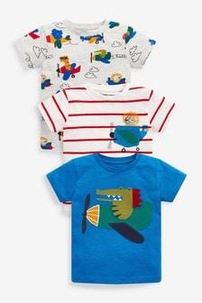 Набор из3 футболок с короткими рукавами (с крокодилом/др.) (3 мес.-7 лет)