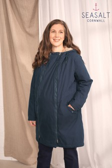 Seasalt Blue Maternity Parka Coat