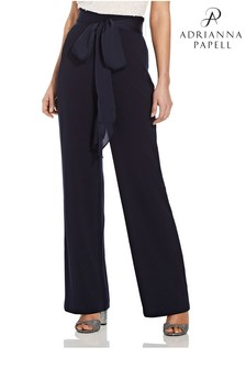 Adrianna Papell Blue Crepe Satin Bow Trousers