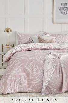 2 Pack Zebra Print Duvet Cover And Pillowcase Set